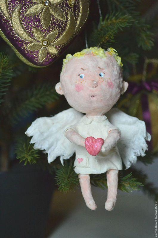 Сказочные персонажи ручной работы. Ярмарка Мастеров - ручная работа. Купить Ватная ёлочная игрушка  - Ангелочек. Handmade. Белый, ангел