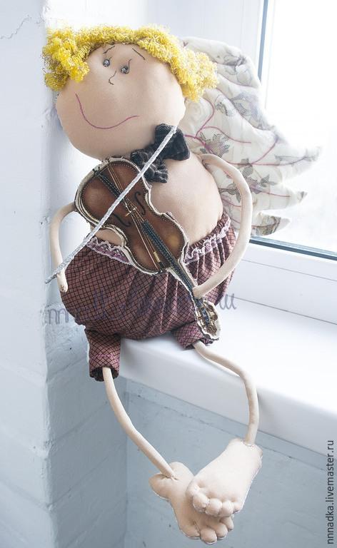 Коллекционные куклы ручной работы. Ярмарка Мастеров - ручная работа. Купить я на скрипочке играю ти-ли-ли ангел ручная работа. Handmade.