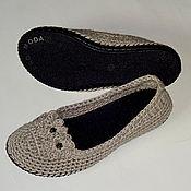 Обувь ручной работы. Ярмарка Мастеров - ручная работа Балетки вязаные  Благородный лен, серый. Handmade.