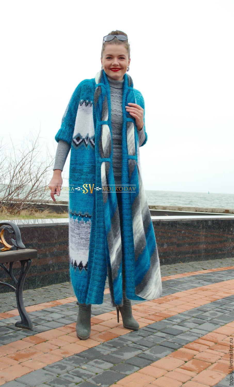 вязаное пальто крымское море купить в интернет магазине на