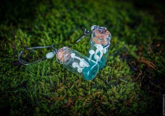 Серьги ручной работы. Ярмарка Мастеров - ручная работа. Купить Серьги-бутылочки со светящимися Грибочками. Handmade. Комбинированный, грибы