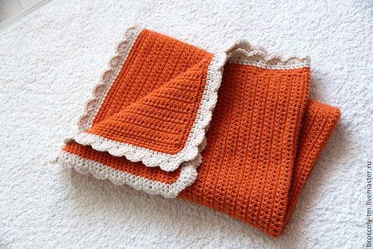 Пледы и одеяла ручной работы. Ярмарка Мастеров - ручная работа. Купить Плед для новорожденного. Handmade. Рыжий, плед детский