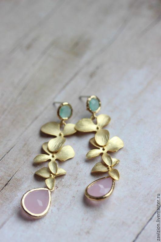 Длинные серьги. Женственные серьги. Цветочные серьги. Мятный, розовый. Серьги с цветами.