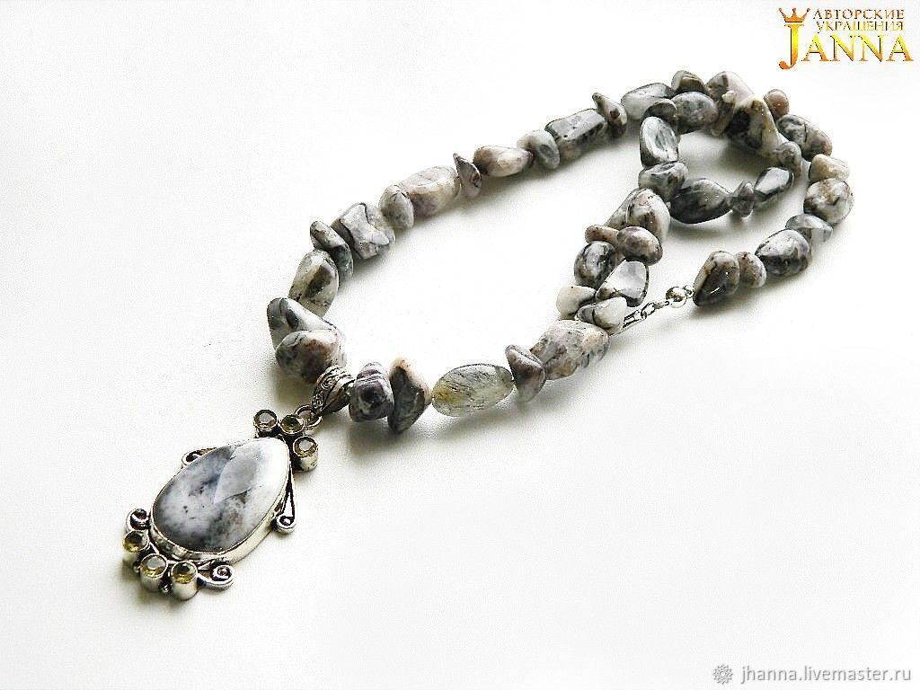 TOURMALINE QUARTZ. ' The pattern of winter' necklace-beads with pendant, Necklace, Volgograd,  Фото №1