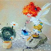 """Картины ручной работы. Ярмарка Мастеров - ручная работа Картина маслом """"Компьютерный ангелочек"""".. Handmade."""