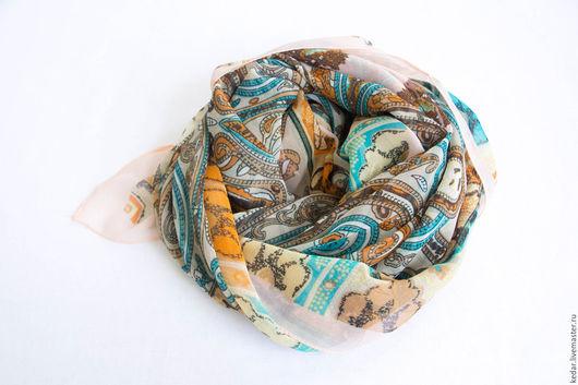 """Шали, палантины ручной работы. Ярмарка Мастеров - ручная работа. Купить Крепдешиновый платок из ткани ETRO """"Узоры"""" бежевый. Handmade."""