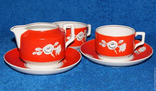 Винтажная посуда. Ярмарка Мастеров - ручная работа. Купить Чайный сервиз дулево тет-а-тет нкмп РСФСР 40-46г. Handmade.