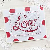 Открытка валентинка с вышивкой. Сердце, любовь, love