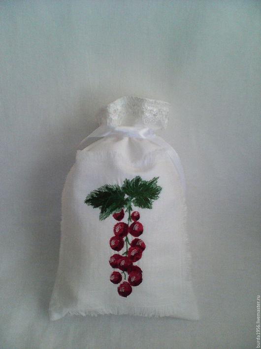 """Кухня ручной работы. Ярмарка Мастеров - ручная работа. Купить Мешочек из льна""""Красная смородина"""". Handmade. Комбинированный, мешочек с вышивкой"""