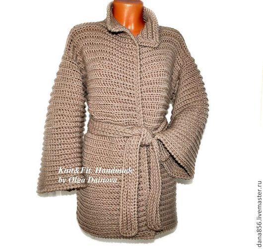 Пальто вязаное. Пальто крючком. Пальто из толстой пряжи. Коричневый. Ручная работа. Толстая пряжа.Крупная вязка. Пальто вязанное. Кардиган теплый связан крючком. Кардиган коричневого цвета.