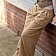 Брюки, шорты ручной работы. Ярмарка Мастеров - ручная работа. Купить Широкие брюки на кокетке. Handmade. Бежевый, брюки на кокетке