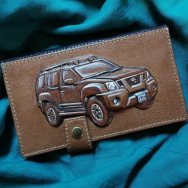 "Bags and accessories handmade. Livemaster - original item Leather wallet ""Nissan Xterra"". Handmade."