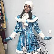 """Одежда ручной работы. Ярмарка Мастеров - ручная работа Костюм Снегурочка """"Парчовая"""" ярко-голубая. Handmade."""
