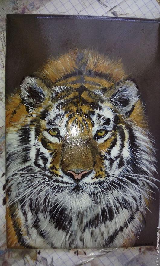 Животные ручной работы. Ярмарка Мастеров - ручная работа. Купить Картина в технике ростовская финифть на заказ. Handmade. Комбинированный, финифть