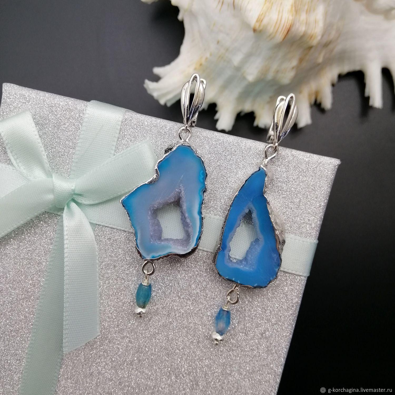 Asymmetrical earrings: with blue agate geodes Archipelagos-4, Earrings, Voronezh,  Фото №1