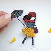 Украшения ручной работы. Ярмарка Мастеров - ручная работа Лори с зонтиком. Комплект брошей. Handmade.
