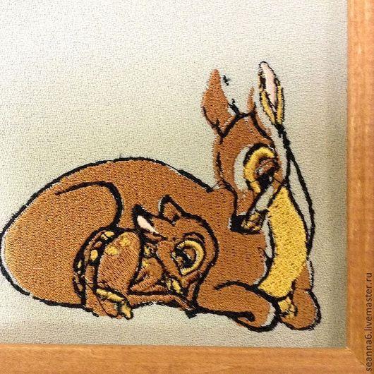 """Детская ручной работы. Ярмарка Мастеров - ручная работа. Купить Вышитая картинка, картина, панно """"Олененок Бэмби с мамой"""". Handmade."""