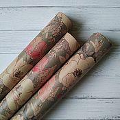 """Упаковочная бумага ручной работы. Ярмарка Мастеров - ручная работа Крафтовая  упаковочная бумага """"Цветы на сером"""". Handmade."""