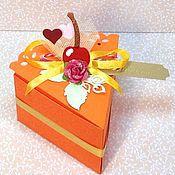 Кулинарные сувениры ручной работы. Ярмарка Мастеров - ручная работа Кусочек торта (упаковочная коробочка ручной работы). Handmade.