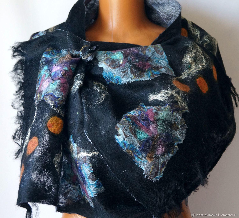 Шали, палантины ручной работы. Ярмарка Мастеров - ручная работа. Купить Валяный шарф Огни ночного города, воздушный шелковый шарф. Handmade.