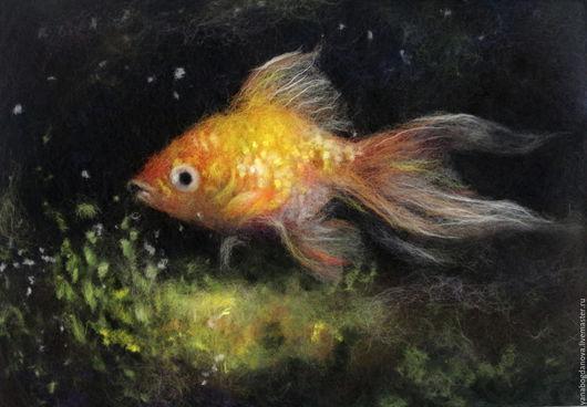 Животные ручной работы. Ярмарка Мастеров - ручная работа. Купить Золотая рыбка картина из шерсти. Handmade. Золотой, рыбка