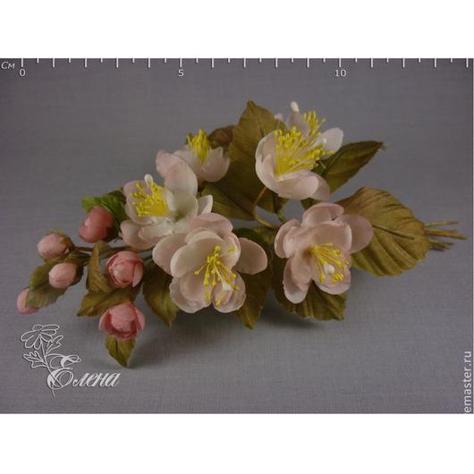 """Броши ручной работы. Ярмарка Мастеров - ручная работа. Купить Веточка яблони """"Весна"""". Handmade. Бледно-розовый, шелковые цветы"""