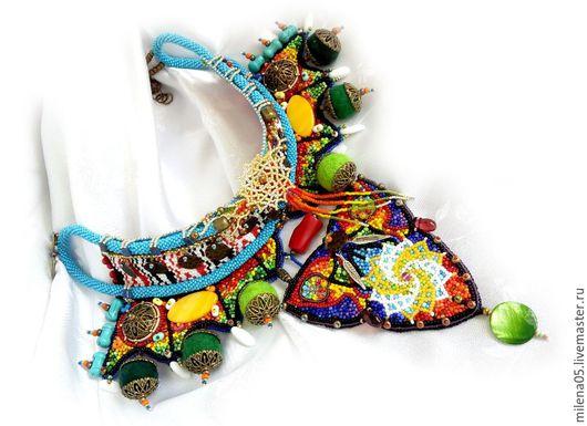 """Колье, бусы ручной работы. Ярмарка Мастеров - ручная работа. Купить Яркое летнее колье """"Солнцеворот"""" в африканском стиле, африканские бусы. Handmade."""