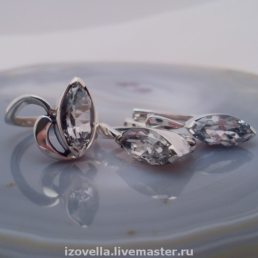 Jewelry Sets handmade. Livemaster - handmade. Buy Set Marquise white Topaz, silver.925 sterling silver