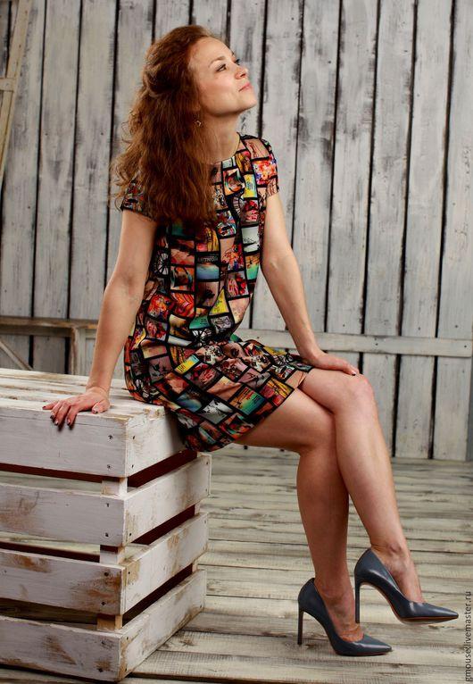 Платья ручной работы. Ярмарка Мастеров - ручная работа. Купить Платье из плотного трикотажа КОЛЛАЖ. Handmade. Комбинированный, платье повседневное
