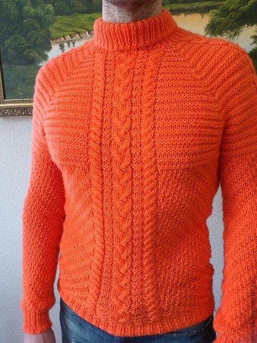 Для мужчин, ручной работы. Ярмарка Мастеров - ручная работа. Купить мужской свитер. Handmade. Рыжий, вязание спицами