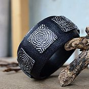 Украшения handmade. Livemaster - original item A wide bracelet made of polymer clay Mists of avalon. Handmade.