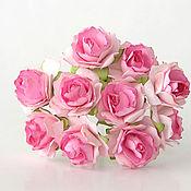 Материалы для творчества ручной работы. Ярмарка Мастеров - ручная работа Роза кудрявая 2 см розовая двухтоновая,1 шт.. Handmade.
