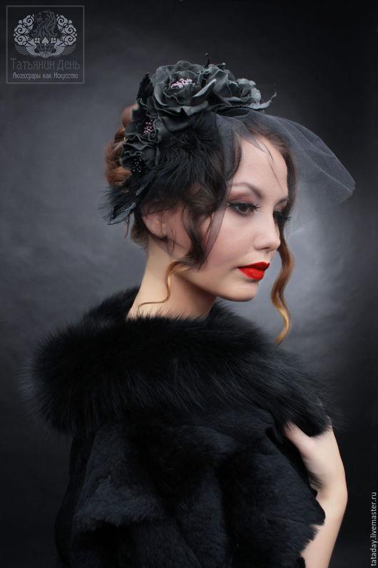 Вечерняя вуалетка, вечерняя шляпка, вечерний головной убор, вуалетка с перьями, вуаль