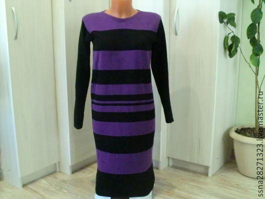 Платья ручной работы. Ярмарка Мастеров - ручная работа. Купить Платье вязаное черно-фиолетовое. Handmade. В полоску