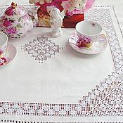 Для дома и интерьера handmade. Livemaster - original item Tablecloth square 140cm. Embroidery. Len.. Handmade.