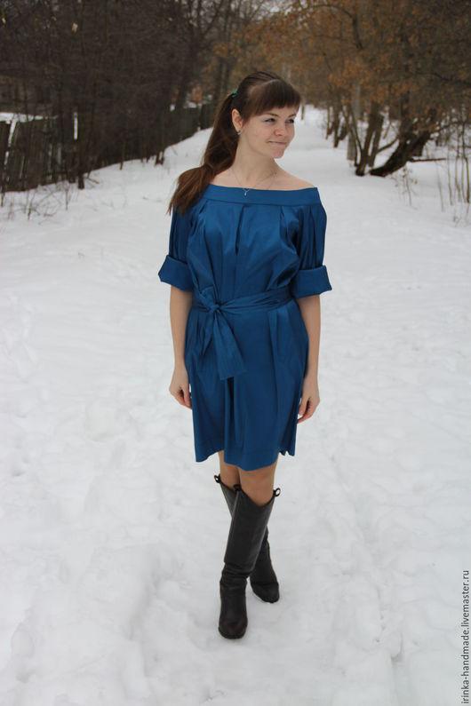 Платья ручной работы. Ярмарка Мастеров - ручная работа. Купить Платье с вырезом лодочка синее. Handmade. Синий, нарядное платье