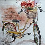 """Картины и панно ручной работы. Ярмарка Мастеров - ручная работа """"Весенний велосипед"""", акварель. Handmade."""
