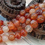 Материалы для творчества handmade. Livemaster - original item Natural carnelian carved bead 10 mm (3330). Handmade.