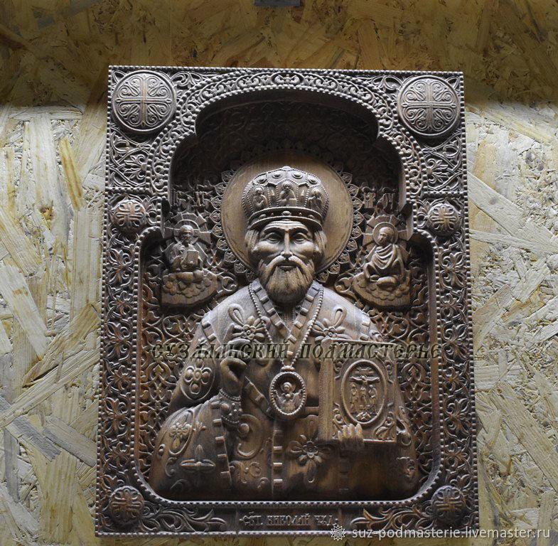 Николай Чудотворец большая, деревянная резная икона в рамке, Иконы, Владимир,  Фото №1