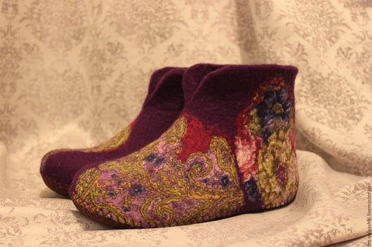 """Обувь ручной работы. Ярмарка Мастеров - ручная работа. Купить Чуньки домашние """"Фиолетовое настроение"""". Handmade. Тёмно-фиолетовый, чуни"""