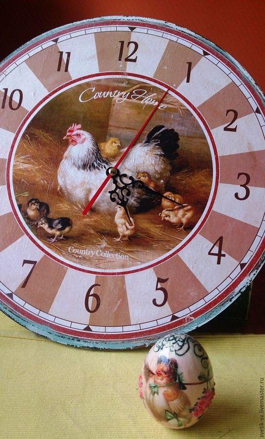 """Часы для дома ручной работы. Ярмарка Мастеров - ручная работа. Купить Часы """"Петушки"""". Handmade. Часы настенные, декупажные материалы"""