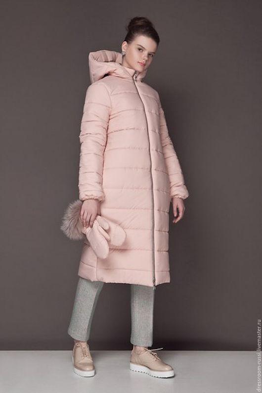 Верхняя одежда ручной работы. Ярмарка Мастеров - ручная работа. Купить Зимнее удлиненное пальто. Handmade. Бледно-розовый