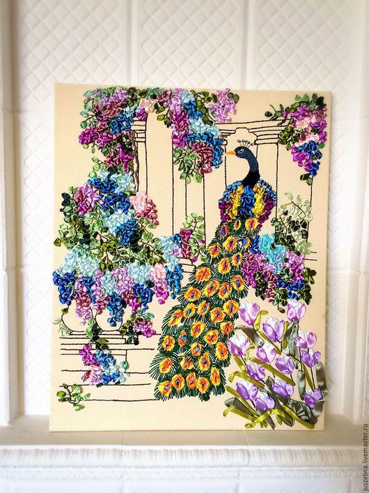 """Картины цветов ручной работы. Ярмарка Мастеров - ручная работа. Купить Картина вышитая лентами """"Павлин"""". Handmade. Картина в подарок"""