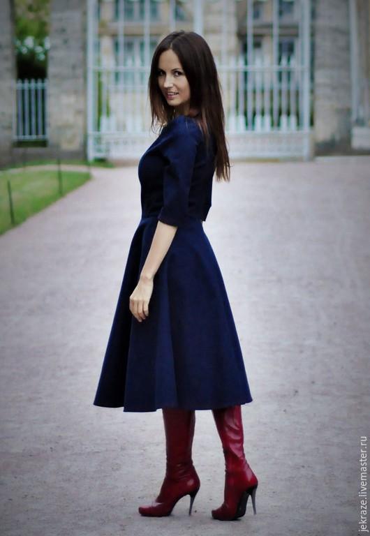 Платья ручной работы. Ярмарка Мастеров - ручная работа. Купить Джинсовое платье с красной отстрочкой. Handmade. Тёмно-синий, одежда