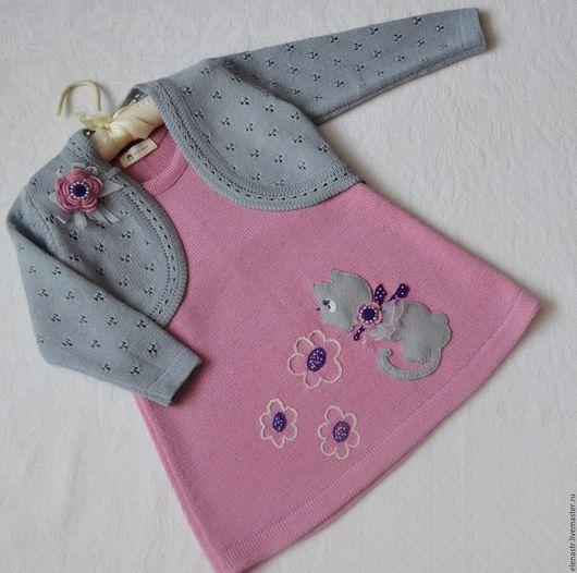 """Одежда для девочек, ручной работы. Ярмарка Мастеров - ручная работа. Купить Комплект для девочки """"Кошка с брошкой"""". Handmade. Комбинированный"""