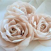 Украшения handmade. Livemaster - original item Brooch set: beige and cream fabric roses. Handmade.