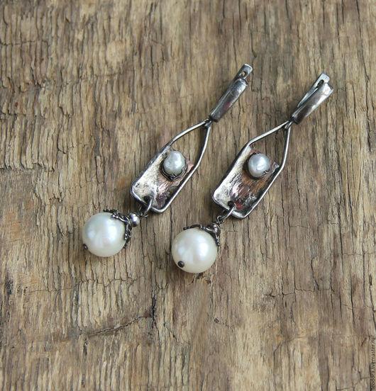 Серебряные серьги с жемчугом и медью. Серьги серебро жемчуг