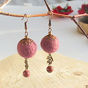 Украшения handmade. Livemaster - original item Felted earrings with Jasper. Handmade.