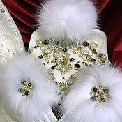 """Шапка """" White Snow """", Перчатки и Палантин."""