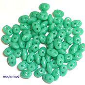 Материалы для творчества handmade. Livemaster - original item 5g country of origin: Czech 63130 2,5h5 mm, Superduo of nepras turquoise Czech beads. Handmade.